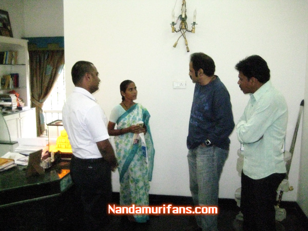 Balakrishna seen with venus mother, venkat (right) and rajasekhar (left)